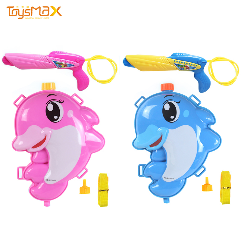 2021 cartoon dolphin colorful summer packsack water gun outdoor beach toy